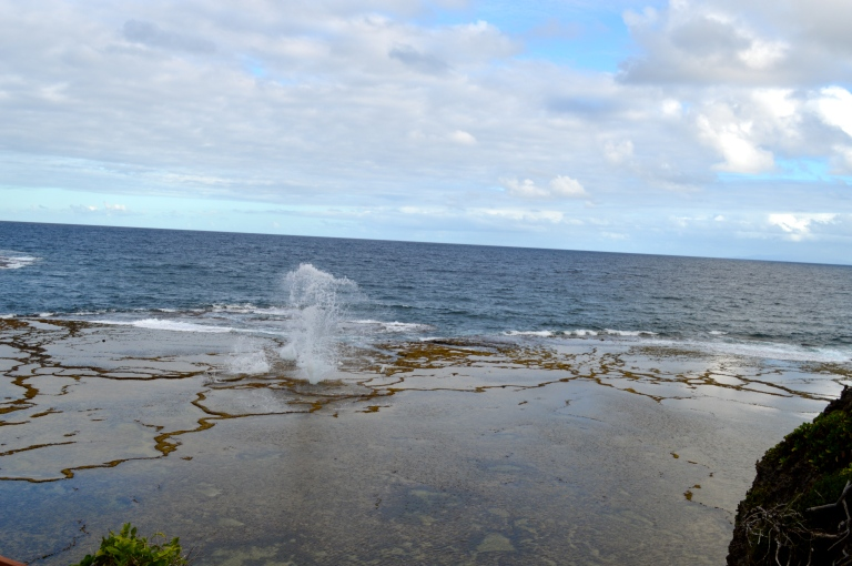 This is the view of one of the blowholes in the middle of the reef. It reminded me of the blowholes we saw in Hawaii.
