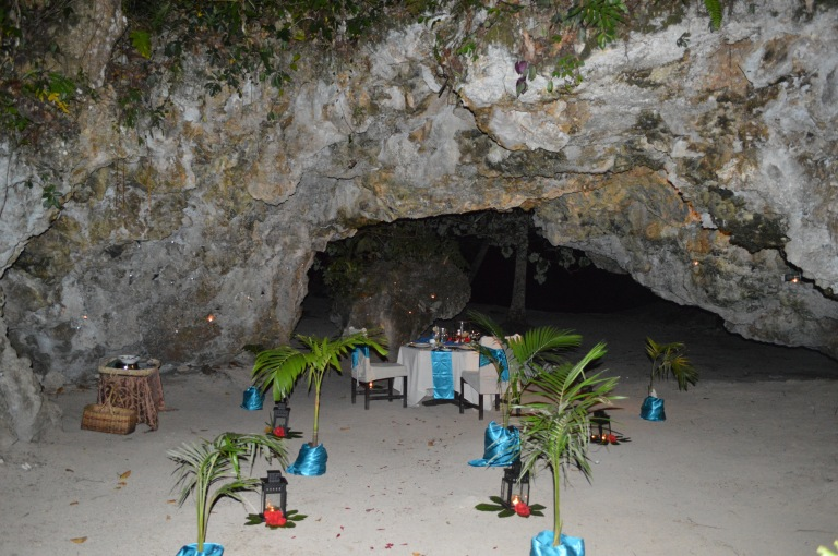 The Namale staff set up an incredibly romantic beachside cave dinner with 100s of tea lights.