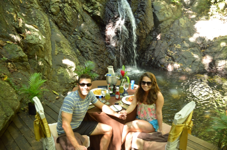 We enjoyed a wonderful private lunch at the waterfall.