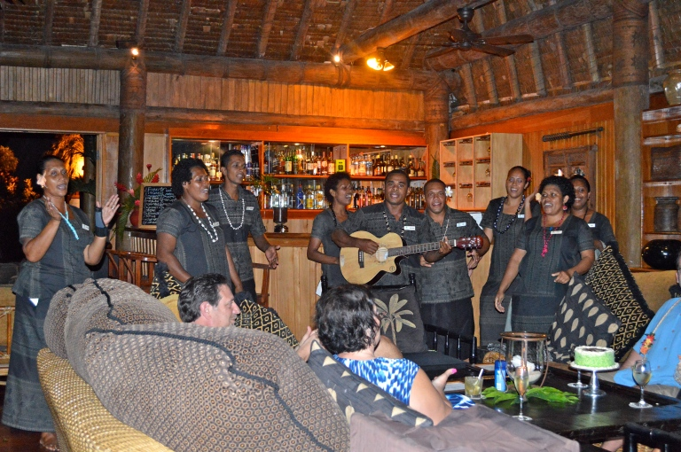 "The Namale Food & Beverage team singing us a traditional Fijian ""Happy Anniversary song"""