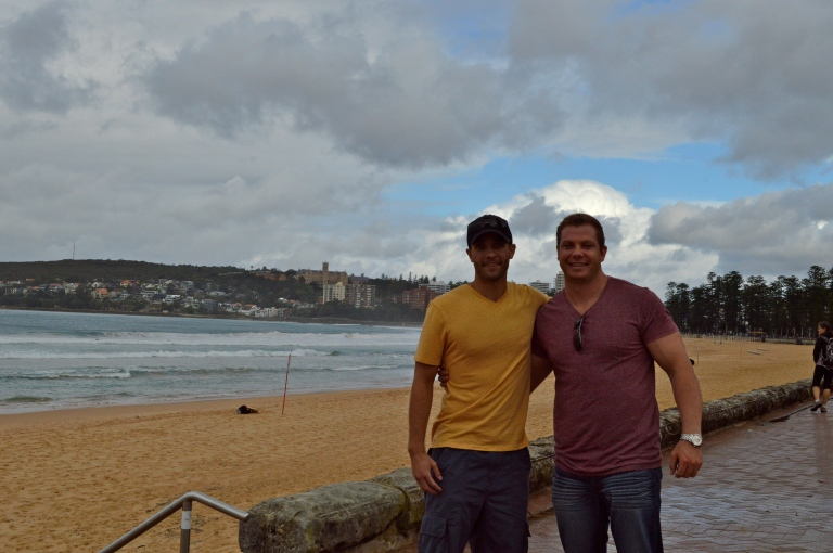A little dark, but Sean and Mick in front of Manly Beach.