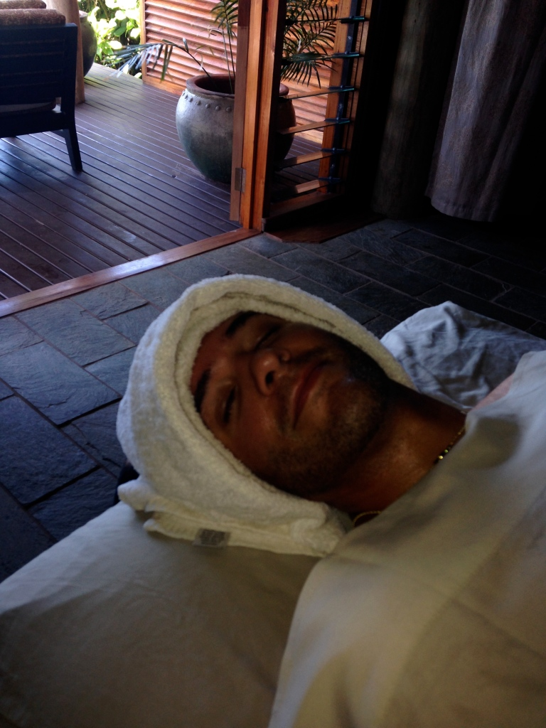 I love this picture! LOL it makes me laugh. This is Sean after his first professional massage! They rolled us up like two snug bugs in a rug. Haha!