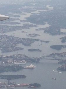 Opera House and Sydney Harbour Bridge view from  the plane.