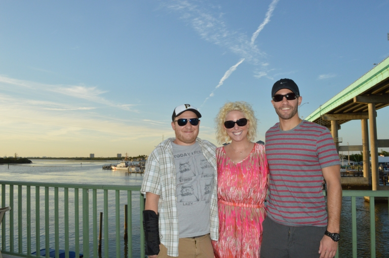 Here is Sean, his sister and her husband posing from the top deck at Nervous Nellies.