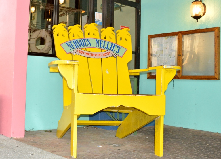 Nervous Nellies is known for this gigantic adirondack chair. Adirondack chairs exemplify true Florida lifestyle.