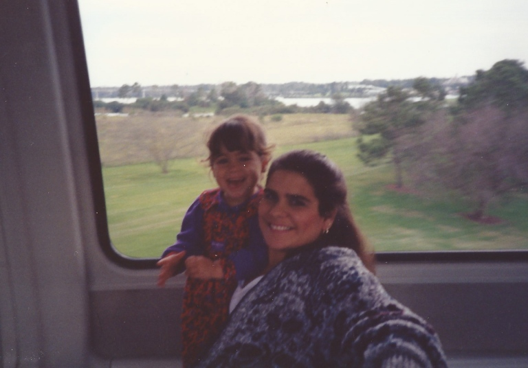 On the monorail in Disney in 1992
