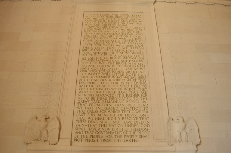 I got chills reading Lincoln's speech while standing in the Memorial. I am so proud to be an American.
