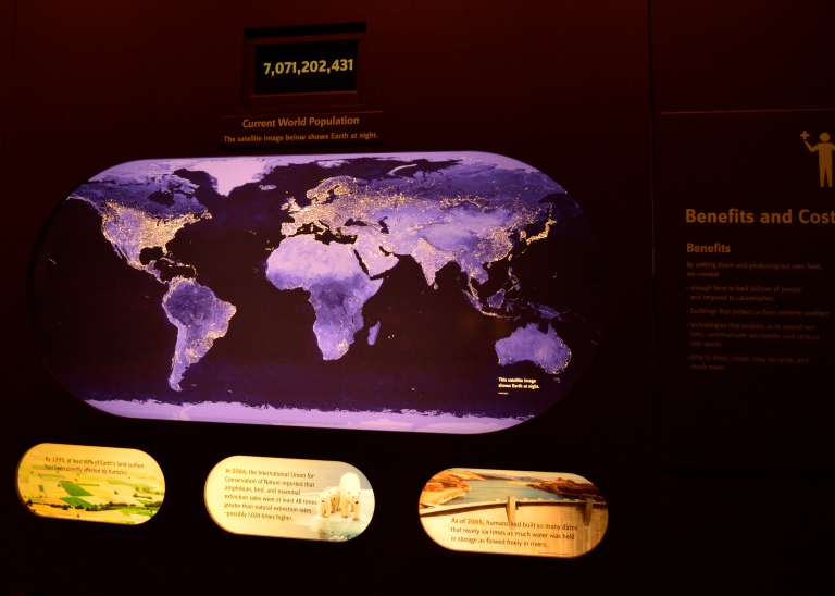 This particular exhibition was really neat. It was all about world population. The screen was computerized and the numbers changed up and down showing the ever changing population of the world marked by births/deaths.