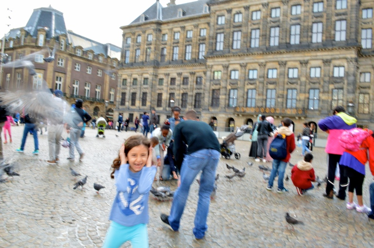I feel your pain little girl. We were the only 2 in the entire Dam Square scared of the pigeons.