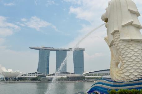 Merlion, half fish half lion, and Singapore's mascot